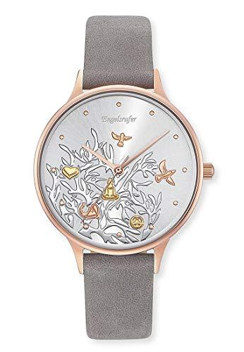 Engelsrufer Damen Analog Quarz Uhr mit Echtes Leder Armband ERWA-TREE01-NGY1-MR