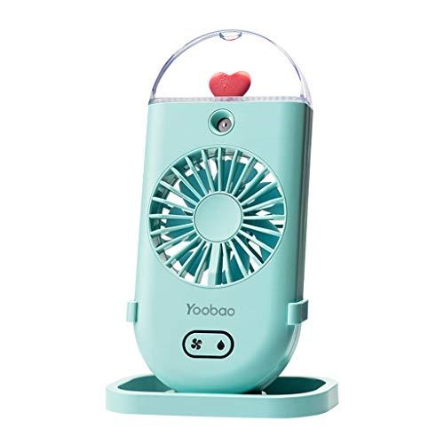 GXT Ventilador de mano, ventilador USB, ventilador de mano, agitación de cabeza, ventilador de carga de oficina, ventilador eléctrico pequeño portátil silencio/azul, blanco, rosa fresco (color: azul)