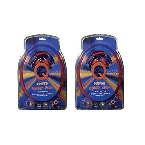 Q Power Super Flex 4-Gauge 3000-Watt Amplifier Car Audio Wiring Amp Kit (2 Pack)