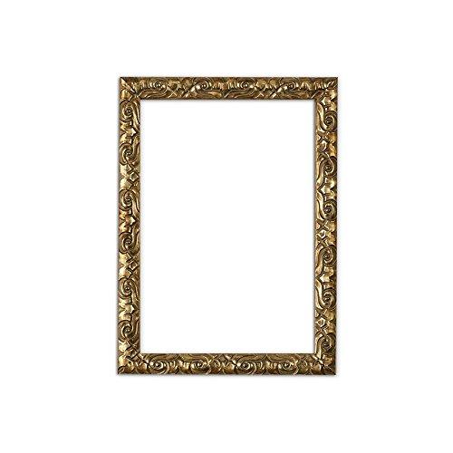 Antik-Look mit Verzierungen/Posterrahmen/Fotorahmen aus bruchsicheren Plexiglas aus Styrol für hohe Klarheit & Rückwand aus MDF - Bilderrahmen in Gold - Grösse A3
