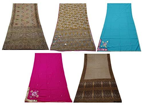 PEEGLI Combo Von 5 Sari Tuch Mehrfarbenfrauen Schneiderei Jahrgang Nähen Dekorative Kunst Indian Saree Stoff DIY
