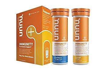 Nuun Immunity  Immune Support Hydration Supplement Electrolytes Antioxidants Vitamin C Zinc Turmeric Elderberry Ginger Echinacea - Blueberry Tangerine + Orange Citrus - 2 Tubes  20 Servings