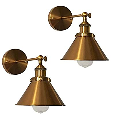"""Adjustable Brass Finish 1 Light Wall Sconce - LITFAD 7"""" Industrial Wall Lamp Lighting Fixture with Cone Shade"""