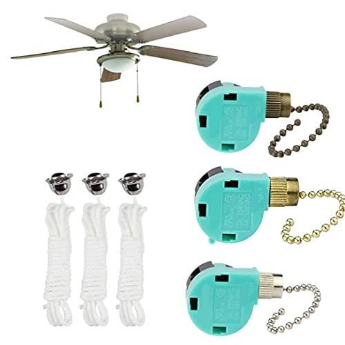 Interruptor de cadena de tirón de ventilador 3 velocidad de reemplazo de alambre de 4 alambre para control de velocidad Color mezclado 3pcs Herramientas prácticas de bricolaje