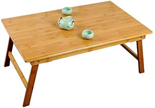 ZXL bed tafel bamboe, laptop tafel opvouwbare gebruikt voor slaapbank leren entertainment kantoor (kleur: bamboe kleur, grootte: 80 cm * 50 cm * 35 cm)