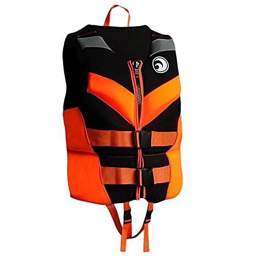 Sunangle Chaleco Salvavidas para Niños Adultos, Neopreno Chaleco de Flotabilidad, Chaleco de Natación Profesional, Seguridad Ajustable, para Kayak, Remo,Naranja,XL