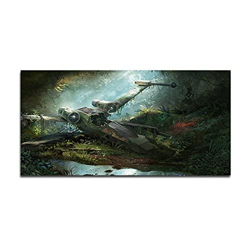 LTGBQNM Crashed X-Wing Starfighter Wall Pintura en la pelicula de Lienzo Pósters e Impresiones Modern Landscape Wall Art para la Sala de Estar Decoración de la casa 24x48inchx1 Sin Marco