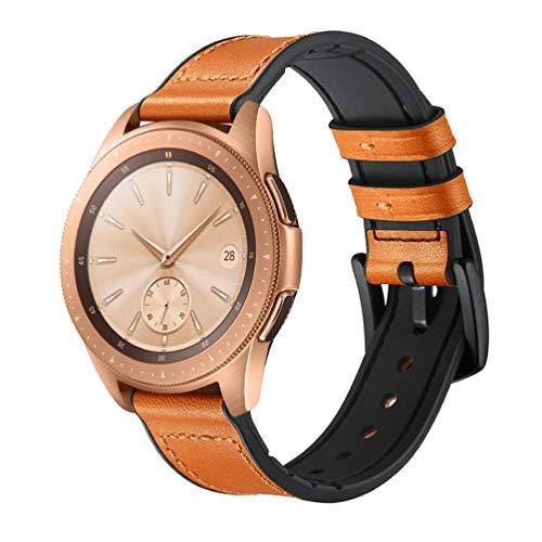HappyTop Armband aus Leder und Silikon für Samsung Galaxy Watch 42 mm / 46 mm Camouflage Armband Samsung Watch Band, Unisex, (42mm) Brown