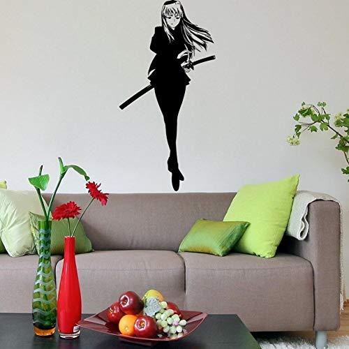 Beautiful Girl With Sword Samurai Anime Housewares Wanddekoration Japan Style WW-320