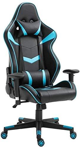 YONGYONGCHONG Silla de oficina ergonómica para videojuegos, con respaldo alto, altura ajustable, de piel, para supervisor de carreras, silla de oficina (color: azul, tamaño: tamaño libre)