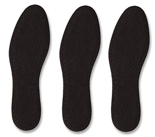 Pedag Summer, German Pure Cotton Terry Barefoot Insole, Washable, Sweat Absorbent, Moisture Control, Black, Us 9l/ Eu 39, (pack Of 3)