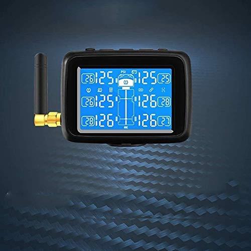 Captes TPMS Inalámbrico Camión Autobús Sistema de Monitoreo de Presión de Neumáticos con 6 Sensores Externo, LCD Monitor Tiempo Real Medidor de Presión y Temperatura Alarma 0-203PSI (0-14.0BAR) Contra