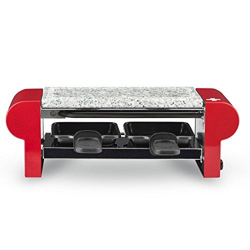 H.Koenig Raclette 2 Personas, Plancha De Piedra Natural, 350 W, Acero Inoxidable, Rojo, 2 Sartenes Antiadherentes, RP2