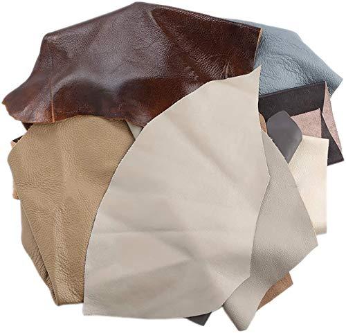 Jie Du piel de vaca chatarra primera capa de cuero de caballo loco de 1 kg de cuero genuino para DIY cuero artesanía cinturón cartera zapatos Matieral color aleatorio
