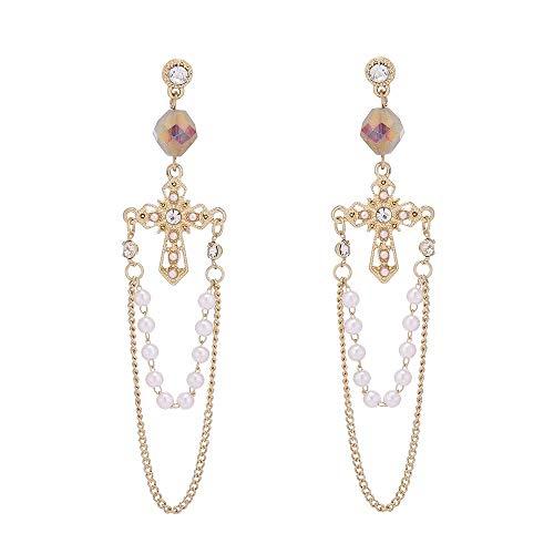 S925 aguja de plata retro cruz de metal pendientes colgantes de perlas personalidad femenina pendientes de borla exagerada