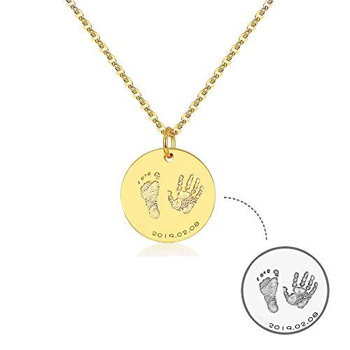 GDCB Personalisierte Handabdruck Fußabdruck Halskette 925 Sterling Silber Fingerabdruck Text benutzerdefinierte Herzschlag Halskette Schmuck Memorial Geschenke für Mama Frauen