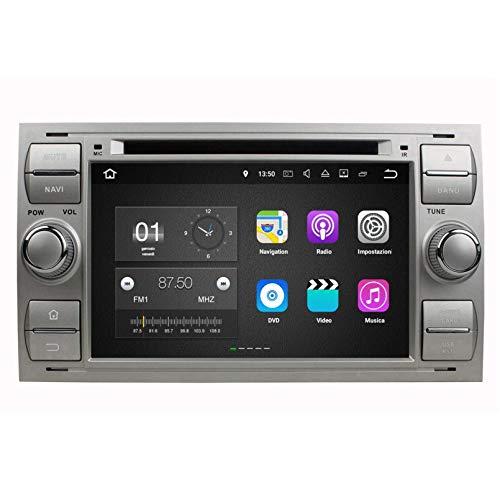 (Argento) 7 Pollici Touchscreen Android 7.1 Autoradio per Ford Focus(2005-2007)/Fiesta(2005-2008)/Kuga(2008-2011)/Mondeo(2003-2007)/S-MAX(2005-2009)/C-MAX(2006-2010)/Galaxy(2000-2009), DAB+ Radio