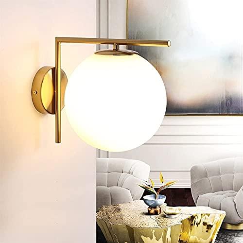 Kioiien Nordic Semplice rivestimento in vetro bianco Globo Globo Gold Metallo Parete Lampada da parete Camera da letto Bedside Sconce Lighting Apparecchio per corridoio Balcone Corridoio Aisle Kitchen
