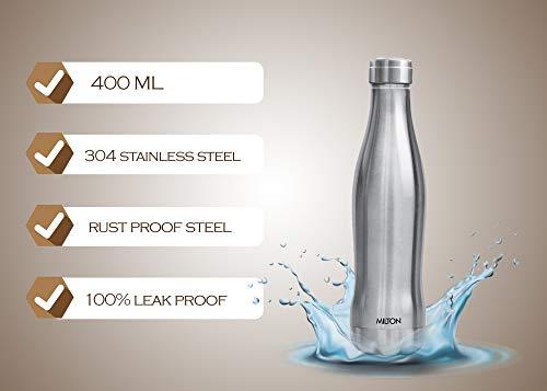 MILTON Duke 500 Stainless Steel Water Bottle, (420 ml, Silver)