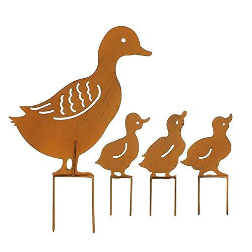 Tongdejing 4 süße Eisen-Enten im Retro-Stil, rostig, Gartenstecker für Zuhause, rustikale Party-Dekoration, europäischer Stil