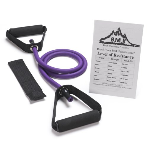 Black Mountain Products Single Resistance Exercise Band with Door Anchor and Starter Guide, 45-50-Pound, Purple