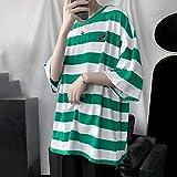 XYZMDJ Camiseta de manga corta para hombre a rayas, suelta y versátil, estilo retro, cuello redondo, color C, talla M: