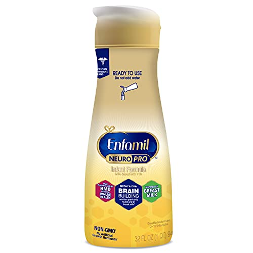 Enfamil NeuroPro Ready-to-Use Baby Formula, Ready to Feed, Brain and Immune Support with DHA, Iron and Prebiotics, Non-GMO, 32 Fl Oz Bottle
