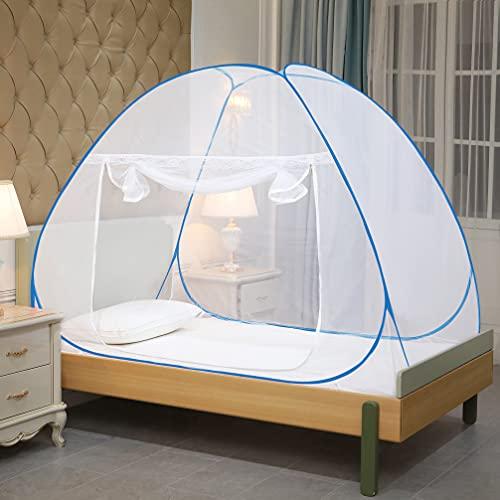 Classic Mosquito Net , Single Bed ( L200CM X W130CM X H120CM) Polyester Foldable - Blue