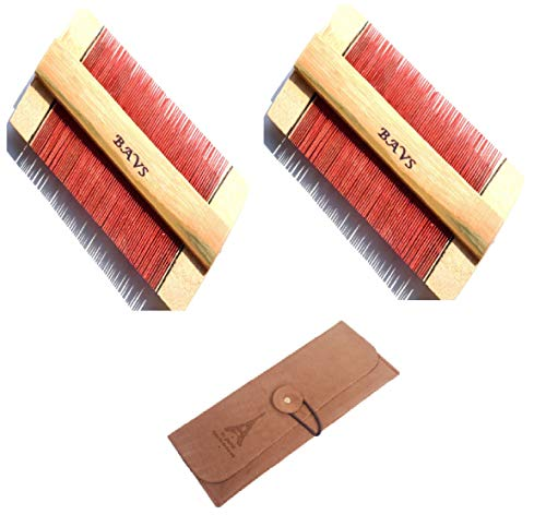 2 Pack Head Lice Comb Double Sided bamboo with comb Cat Dog Pet massage Grooming Synthetic leather case