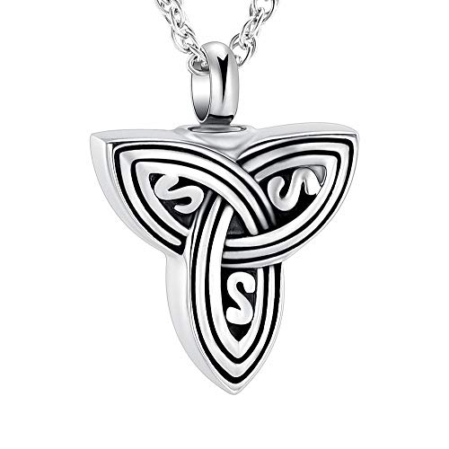 Triquetra Cremation Jewelry Urn Necklace for Ashes Holder Keepsake Memorial Celtic Knot Locket Memorial Necklace for Human Pet