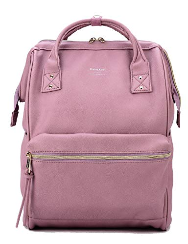 Kah&Kee Leather Backpack Diaper Bag with Laptop Compartment Travel School for Women Man (Lavender, Large)