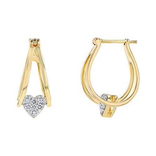 Olivia Paris イエローゴールド ダブルフープイヤリング ダイヤモンドハートチャーム付き