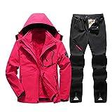 Jackenstr Tuta da Sci da Donna Impermeabile Antivento Sci Snowboard Abbigliamento da Neve Tute Giacca Pantaloni Set Rose Red Set S