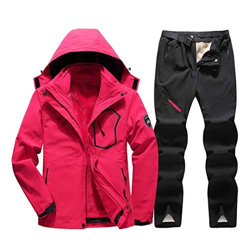 Jackenstr Tuta da Sci da Donna Impermeabile Antivento Sci Snowboard Abbigliamento da Neve Tute Giacca Pantaloni Set Rose Red Set M