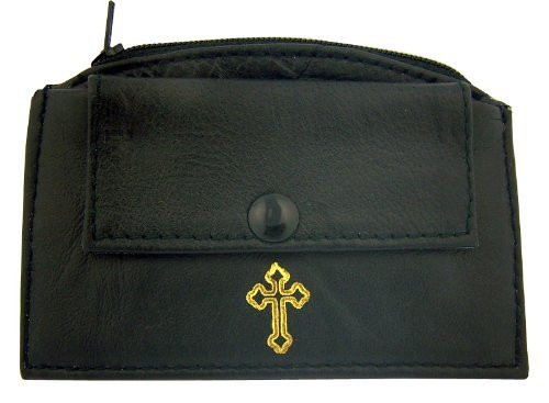 Mens Womens Catholic Gift Black Leather Rosary Case with Zipper Closure and Snap Frong Pocket Gold Stamp Irish Celtic Cross Design