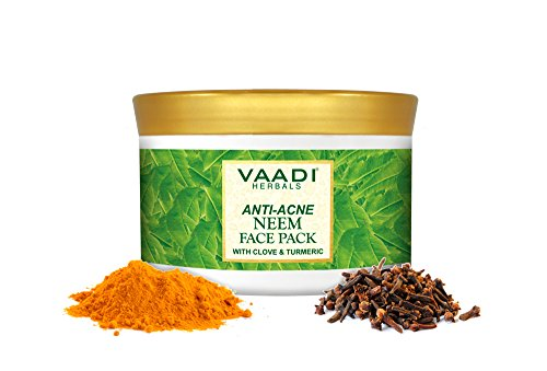 Vaadi Herbals Anti-Acne Neem Face Pack With Clove & Turmeric Herbal Face Pack All Natural Sulfate Free Suitable For All Skin Types 600 Gms (21.16 Ounces)