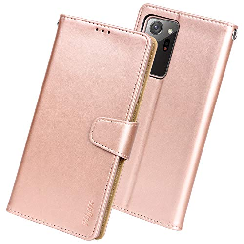 Migeec Case for Samsung Galaxy Note 20 Ultra 5g Wallet Flip Cover with Credit Card Holder and Pocket, Rosegold