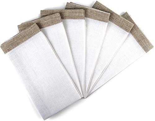 "Linen Dinner Napkins – Set of 6 100% Pure European Flax White & Natural Square Kitchen Napkins – Size 18"" x 18"" – Cloth Dinner Napkins for Restaurants, Birthdays, Wedding Table Decor"
