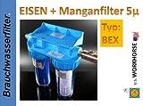 DOPPEL FILTER Wasserfilter EISEN MANGAN 100µ+5µ BEX