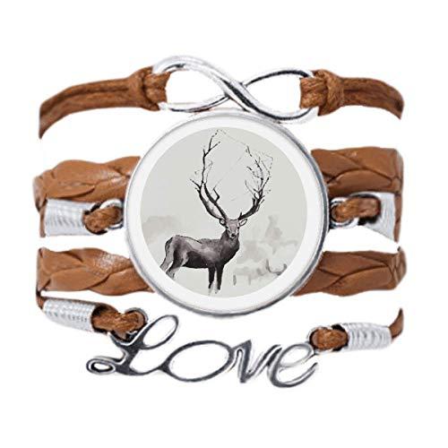 DIYthinker Reindeer Christmas Artistic Effect Watercolor Bracelet Love Chain Rope Ornament Wristband Gift