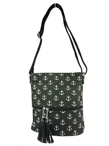 kleine Stofftasche I Umhängetasche mit Motiv Anker, Fächer, langer Trageriemen I Damen Handtasche I canvas Tasche (schwarz)