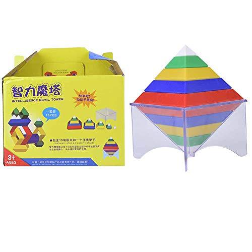 Jouet d'assemblage pour enfants, enfants bricolage assemblage pyramide blocs de construction ABS modèle de cube magique Puzzle coloré jouets éducatifs pour 3 ans et plus enfants bébé tout-petits
