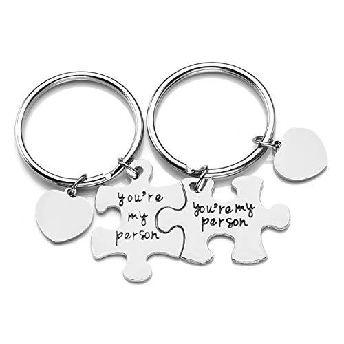 JOVIVI Partner Puzzle Schlüsselanhänger mit Gravur you're my person Paar Schlüsselringe mit Herz Scheibe Pärchen Geschenk