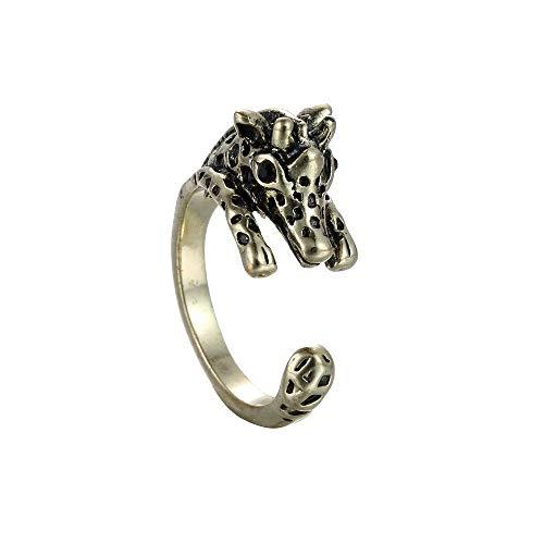 Winter 's Secret Creative Legierung Öffnung Animal 3D Giraffe ausgleichend Unisex Antike Bronze und Silber Ring, gelb, deere,kitten,kindergarten,knock,10mm,shopkins,lush