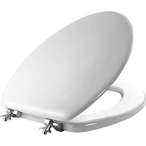 MAYFAIR 1844CP 000 Toilet Seat with Chrome Hinges will Never Come Loose, ELONGATED, Durable Enameled Wood, White