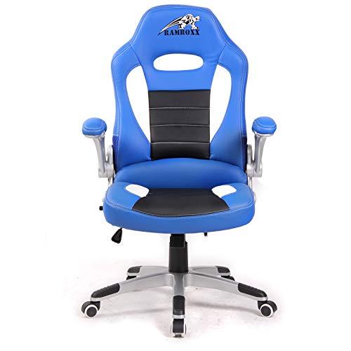Ramroxx 37944 RAMROXX Gamingstuhl Bürostuhl Schreibtischstuhl Sportsitz Schwarz Blau