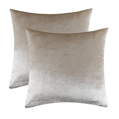 Gigizaza Cojín Terciopelo Funda de Cojines 60x60 cm Crema Decoración Almohada Caso de la Cubierta para Sofá Cama 2 Paquetes
