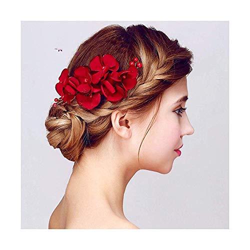 Stijlvolle Eenvoud Vrouwelijke Headdress Bruid Headdress Rood Haar Ornament Huwelijk Accessoires Bruidsmeisje Ornamenten Esthetische Bloemen Doek Art, DZ