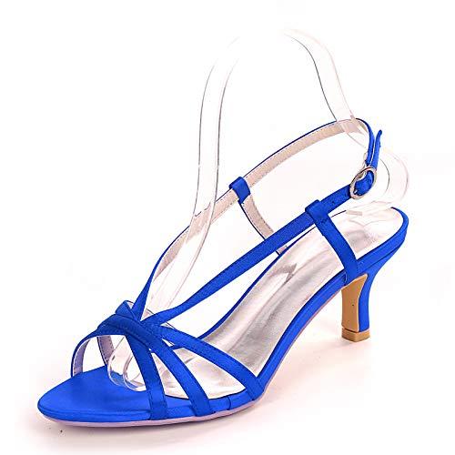 Gycdwjh Zapatos de Novia Tacon Bajo, Moderna Fiesta Zapatos de Novia Cómodo Satín Sexy Asakuchi Zapatos de Tacón para Banquete de Bodas Fiesta,Royal Blue,35 EU