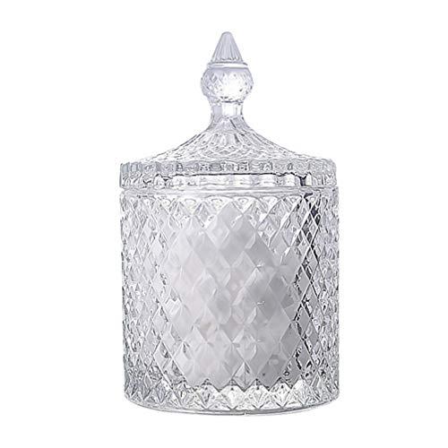 HEMOTON - Tarro de cristal trenzado para dulces, aperitivos, para el hogar, el escritorio, la habitación (transparente)